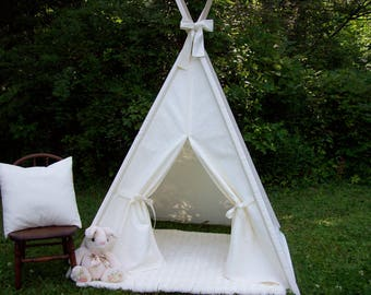 KidsTeepee, Lace Front Teepee with Bow, Kids play tent, Childs foldaway teepee, Wood poles
