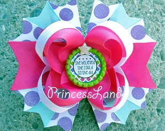 Hair Bows For Girls - Polka Dot Hair Bow - Stacked Hair Bows - Boutique Bows - She Believed She Could So She Did Hairbow