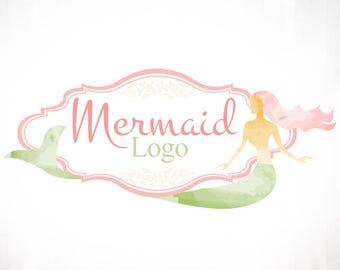 Premade Logo Design • Mermaid Watercolour