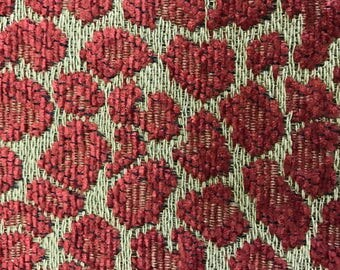 Red Soft Textured Leopard Upholstery Fabric By The Yard
