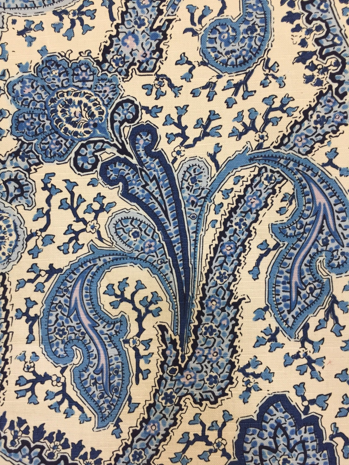 blue and white paisley heirloom decorative fabric upholstery fabric by the yard from. Black Bedroom Furniture Sets. Home Design Ideas