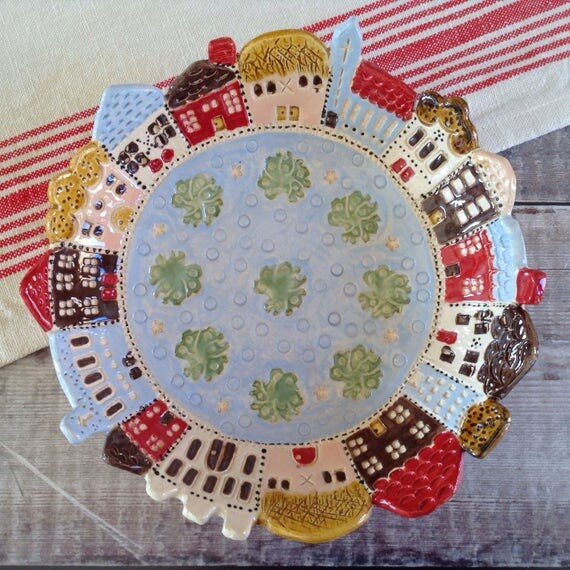 Handmade Ceramic decorative Bowl, centrepiece, colourful dish, housewarming gift, little houses, unusual, vibrant, eyecatching
