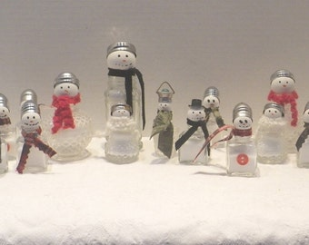 Vintage Salt Shaker Snowman ~ Whimsical Salt Shaker ~ Vintage Salt Shaker ~ Upcycled Salt Shaker ~ Snowman