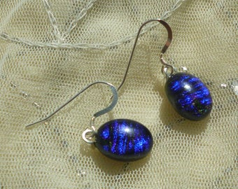 Deep Blue Dichroic Glass Dangle Earrings.  Fused Glass Earrings. Glass Dangle Earrings