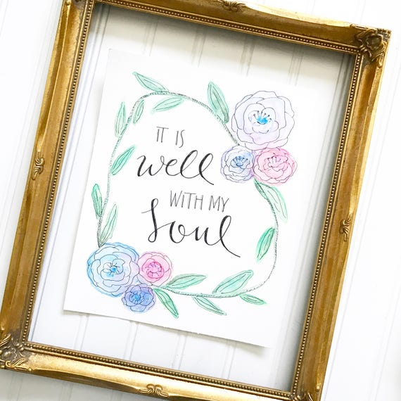 "8x10"" Original Floral Watercolor Handlettered Print Catholic Christian Home Decor"