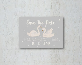 Swan Save the Date Card or Magnet