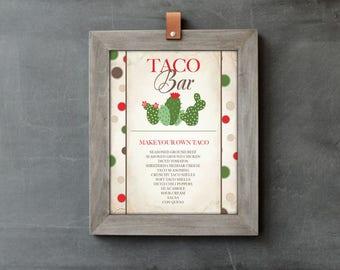 FIESTA PARTY DECORATIONS, Taco Bar Sign, Taco Bar, Taco Sign, Editable Text, Printable Cinco de Mayo, Instant Download, Wedding Sign, Decor
