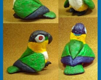 BLACK-HEADED CAIQUE Parrot Tongue-in-Beak Mini-gem by Sally Blanchard