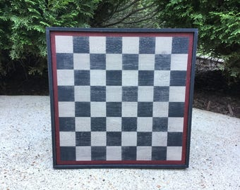 Checkerboard, Game Board, Wood, Rustic, Primitive, Game Boards, Folk Art, Wooden, Checkers, Wall Hanging