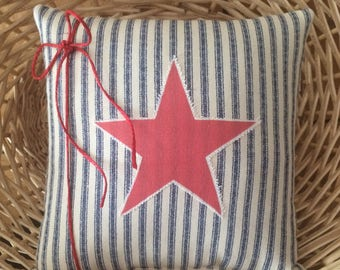 Red White Blue Star pillow~4th of July decor~Americana~Farmhouse~Shabby Chic~Patriotic decor~Porch pillows~American Flag Theme~Made in USA