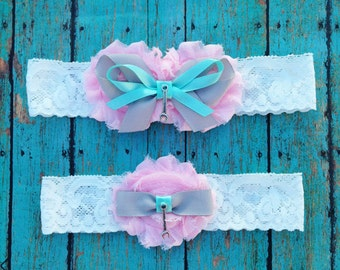 Pale Pink and Grey Mechanic Garter Set | Wedding Garters | Bridal Garter and Toss Garter | Other Colors and Prints Available | Customize