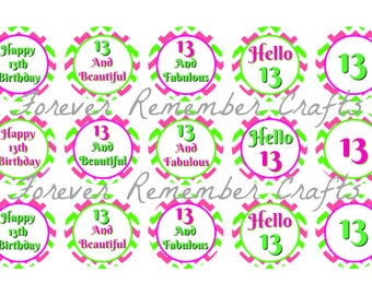 INSTANT DOWNLOAD Personalized 13th Birthday Party  1 Inch  Image Sheets *Digital Image* 4x6 Sheet With 15 Images