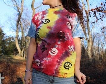 Hand painted tie dye T-shirt - 100% cotton - size adult medium