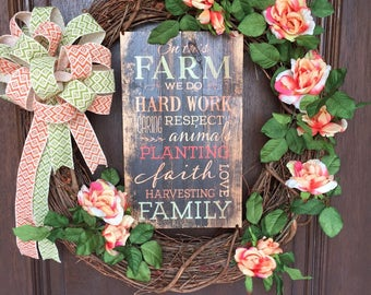 Summer Wreath, Country Wreath, Farm Wreath