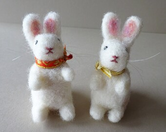 tiny animals bunny rabbit handmade ornaments luckjudgementgifts needle felting white christmas tree decor - Home Decor Uk