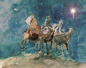 "3 Wise Men, Watercolor, 8.5""x11"", Print"