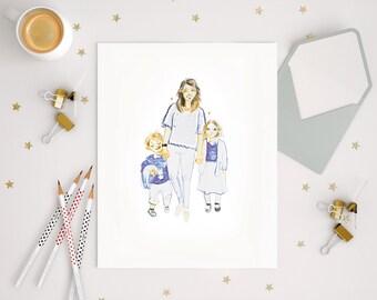 Funny Family Illustration - Custom Print, Comic , Children book illustration style, original Christmas gift for a mum, dad, family, handmade