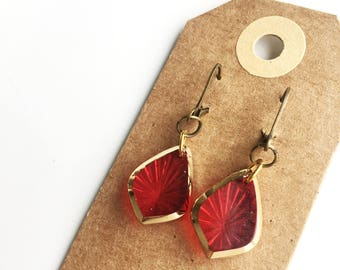 Earrings | Vintage glass small red/gold
