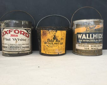 Paint Can - Vintage Metal Paper Label Paint Can - 1 Gallon Can - Oxford - Dutch Boy - Painter - Painter- Artist - Pittsburgh - Tin - Bucket