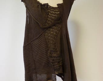 Reserved for Vega. The hot price. Summer transparent  asymmetrical chocolate linen top, M/L size.