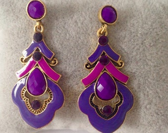 Long purple earring