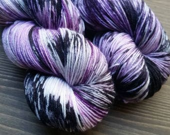 Hand Dyed Yarn, Merino Wool Yarn, Purple White Black - Devotion