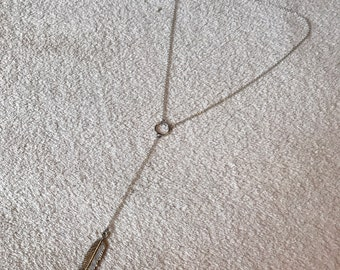 Handmade lariat silver feather necklace