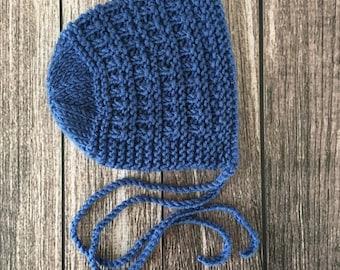 RTS! Newborn Bonnet, Newborn Hat, Newborn Photo Prop, Baby Bonnet, Newborn Photography Prop, Newborn Photo Session, Blue Bonnet, Blue