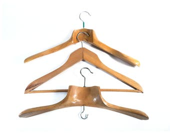 3 Vintage Wooden Large Shoulder Flat Coatrack, Beech Wood Clothes Dual Hanger for Dress and Suit