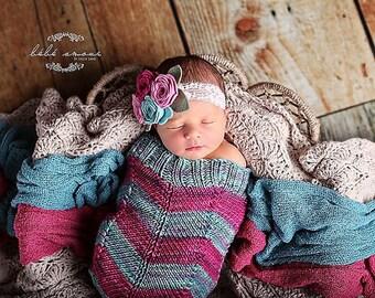 Chevron Stripes PATTERN Knit Baby Cocoon, Instant PDF Download