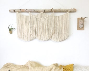 "XL Large Macrame wall hanging on thick birch. Wall hanging, cotton on birch. 47"" x 35"" (119cm x 89cm) #76"