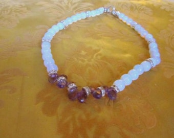 Blue Crystal and Amethyst Necklace