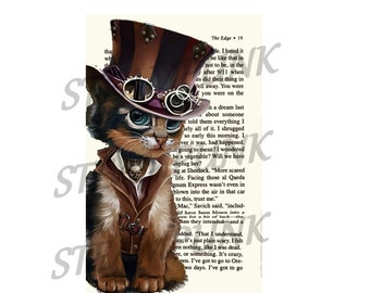 """POSTER... POSTER art print """"Cat 5 STEAMPUNK"""" clipart table 20 x 29 cm"""
