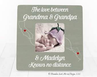 Long Distance Grandparent Gift, Christmas Gift for Grandparents, Gift for Grandma and Grandpa, Grandma and Grandpa Frame for Grandparents