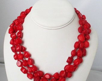 Three Strand Coral Necklace. Free Shipping