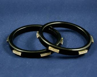 Vintage black bangles plastic bangle bracelets rhinestone bangle