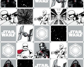 Star Wars fabric - Grey Grid Dark Side, The Force Awakens, Camelot Fabrics - Imperial, Kylo Ren fabric, episode 7, stormtroopers, rebels
