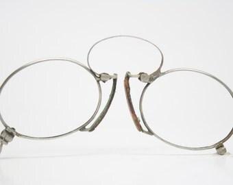 Antique Silver Hoop Spring Pince Nez Eyeglasses