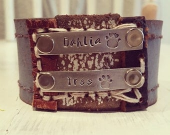 The Mans Best friend • pieces of me • handstamped Leather cuff