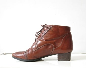 Vintage leather ankle boots