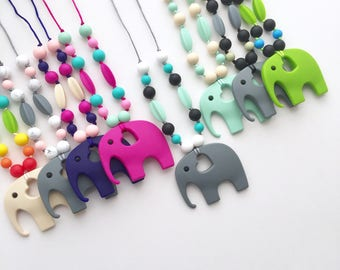 The Ruby Silicone Teething Necklace for Mom - Elephant   Tula Inspired   Babywearing Necklace   Nursing Necklace   Baby Carrier Accessory