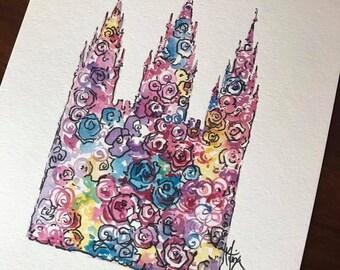 SLC Temple Floral Watercolor