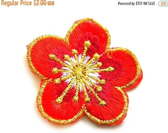 HALF PRICE Red Flower Embroidered Patch Appliqué
