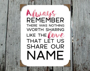 Always Remember There Was Nothing Worth Sharing Like The Love That Let Us Share Our Name -Avett Brothers- Printable Instant digital download