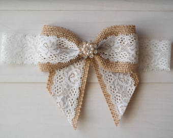 Burlap Wedding Garter, Burlap and Lace Bow Garter, Garter Belt with Rhinestone
