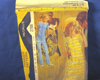 McCalls pattern 2788 - Misses Dress or Tunic and Pants Size 16 - 1971
