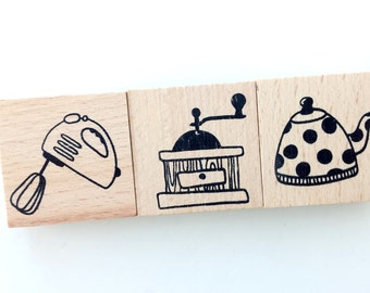 Set of 3 wood rubber stamps