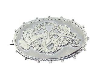 Silver Hunting Horn Brooch