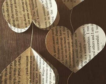 Heart Vintage Book 3D garland  // bookpage bunting // handmade alpaca felted weight ball // wedding decor //