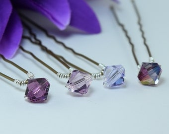 Priced singly amethyst and lilac shades Swarovski crystal hairpins.Add colour and sparkle to your Wedding or any Special Occasion hairstyle.